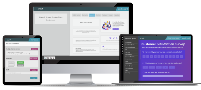 Build Emails, Surveys And Landing Pages Quickly and Easily